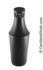 Soy souce platic bottle over white background - Platic...