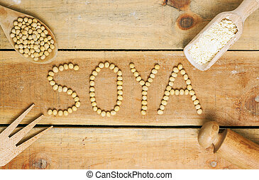 soy word with wood background