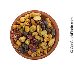 Soybean cranberry trail mix in a small bowl