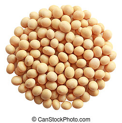 Group of soy beans isolated on white background