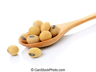 soybean in wooden spoon on white background