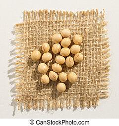 Soybean legume. Close up of grains over burlap.