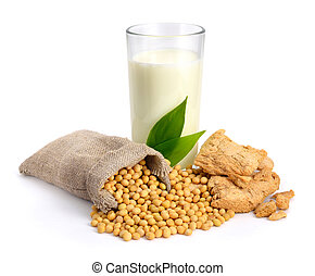 Soybean milk, meat, seed. Isolated on white backgraund.
