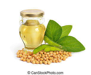 Soybean oil in a bottle with green pods and leawes. Isolated...
