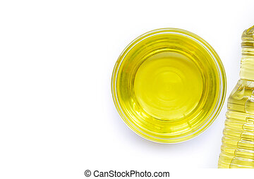 Soybean oil in a glass bowl on white backgraund.