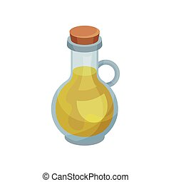 Soybean oil in bottle on white background.