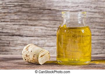soybean oil in glass bowl