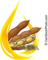 Soybean oil. Stylized drop of oil and soybean pod.