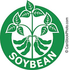 soybean, vector, (symbol), illustratie, etiket
