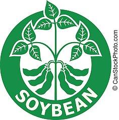 soybean, vector, (symbol), illustratie, etiket