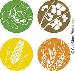 Soybeans, Cotton, Corn and Wheat - An icon set representing...