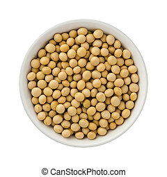 Soybeans in a ceramic bowl. The image is a cut out, isolated...