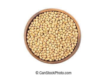 Soybeans in a wooden bowl isolated on white background