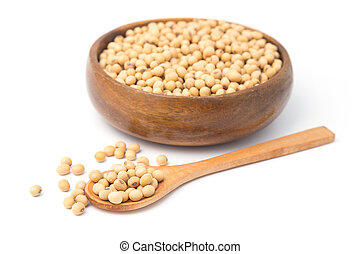 Soybeans in wooden bowl and spoon isolated on white background