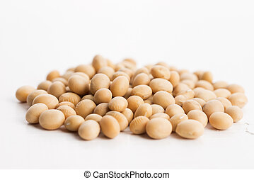 soybeans on wooden background