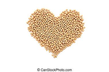 Soybeans, or soya beans, in a heart shape