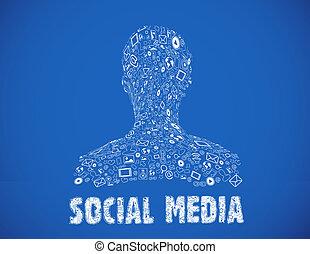 sozial, medien, abbildung