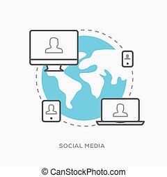 sozial, medien, abbildung, vektor, in