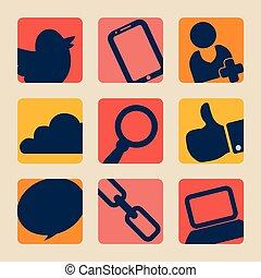 sozial, medien, design, vektor, illustration.