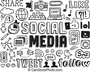 sozial, medien, doodles, elemente