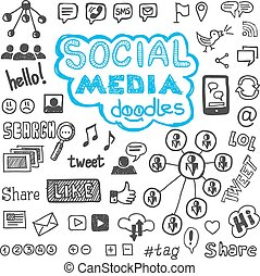 sozial, medien, doodles, hand, gezeichnet, entwerfen elemente