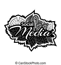 sozial, medien, doodles., vektor, illustrator