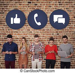 sozial, medien, gebraucht, zwischen, leute