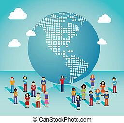 sozial, medien, gesamt-netzwerk, americas