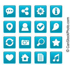 sozial, medien, heiligenbilder, auf, blaues quadrat