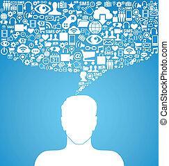 sozial, medien, kommunikation, mann