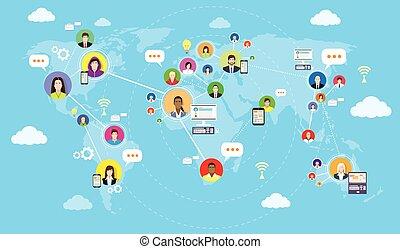 sozial, medien, kommunikation, weltkarte, begriff, internet, vernetzung, anschluss