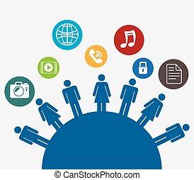 sozial, medien, kommunikationsikon
