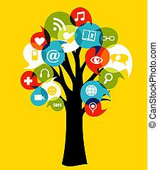 sozial, medien, netze, baum