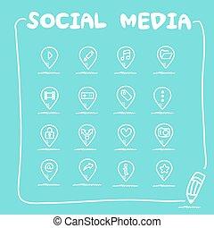 sozial, medien, satz, ikone
