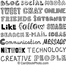 sozial, medien, vektor, skizze, text