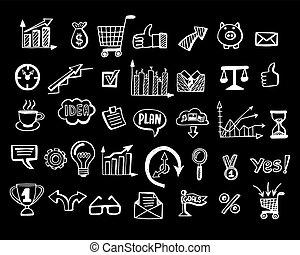sozial, mittel- geschäft, doodles, schwarzer hintergrund