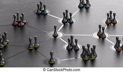 sozial, networking, concept., leute, verbunden, zusammen,...