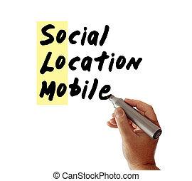 sozial, ort, beweglich, hand, markierung