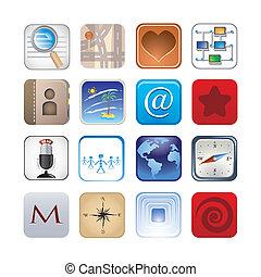 sozial, satz, ikone