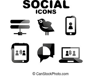 sozial, satz, schwarz, glänzend, ikone