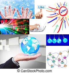 sozial, vernetzung, collage, satz