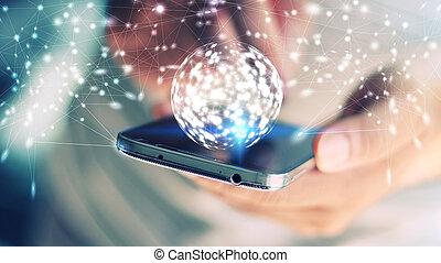 sozial, vernetzung, concept., gesamt-netzwerk, auf, smartphone.