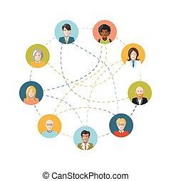 sozial, vernetzung, mit, wohnung, leute, weiß