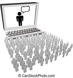 sozial, vernetzung, publikum, leute, uhr, computermonitor