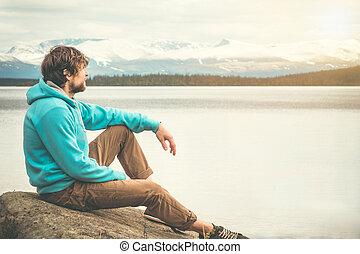 sozinha, ao ar livre, jovem, relaxante, homem