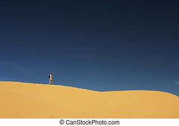 sozinha, @, areia, colina, 01