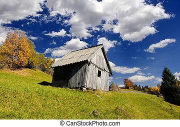 sozinha, casa, em, outono, montanha