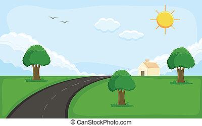 sozinha, casa, paisagem, paisagem