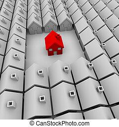 sozinha, casa, plataformas, vermelho, um