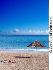 sozinha, em, a, praia